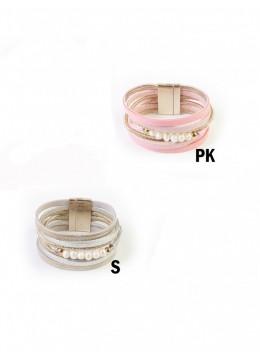 Rhinestone Wrap Magnetic Bracelet W/ Pearl