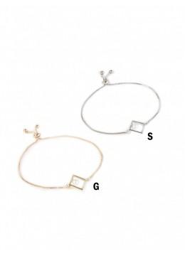 Adjustable Square Rhinestone Stretch Bracelet W/ Pearl