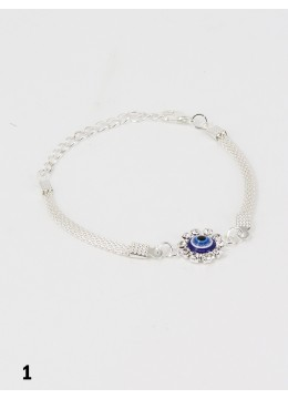 Rhinestone Adjustable Bracelet W/ Evil Eye