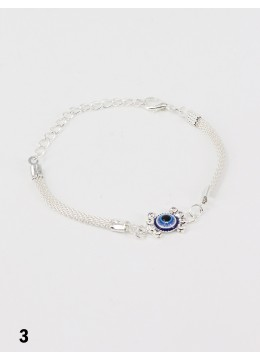 Rhinestone Adjustable Bracelet W/ Evil Eye