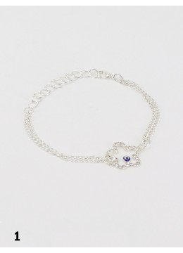 Evil Eye in Flower Stretch Bracelet with Rhinestones