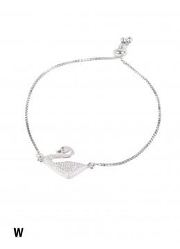 Adjustable Rhinestone Stretch Bracelet W/ Swan Pendant