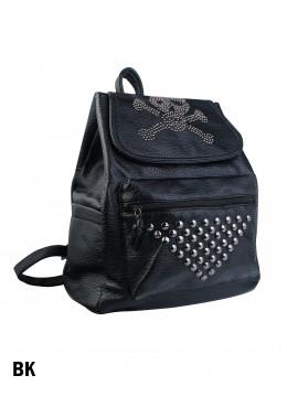 Punk Leather Skull Studded Backpack