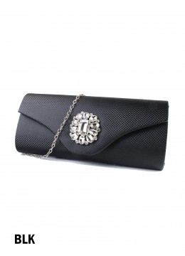 Rhinestone Flower Evening Clutch / Black
