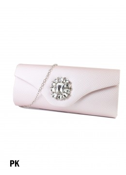 Rhinestone Flower Evening Clutch / Pink