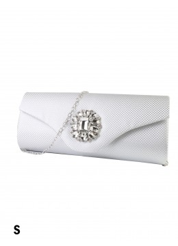 Rhinestone Flower Evening Clutch / Silver