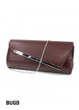 Faux Leather Evening Clutch W/ Charm