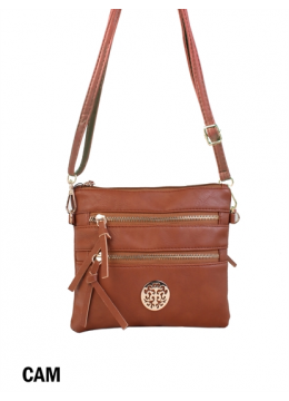Premium Zip Faux Leather Crossbody /Camel