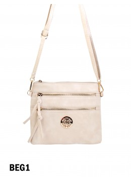 Premium Zip Faux Leather Crossbody /Beige
