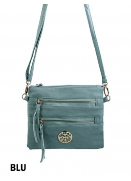 Premium Zip Faux Leather Crossbody /Blue