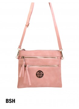 Premium Zip Faux Leather Crossbody /Blush