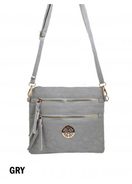 Premium Zip Faux Leather Crossbody /Grey