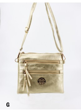 Premium Zip Faux Leather Crossbody /Gold