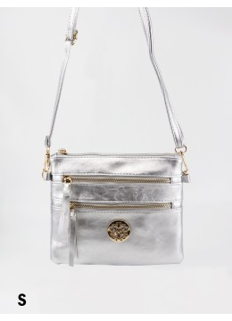 Premium Zip Faux Leather Cross-body /Silver