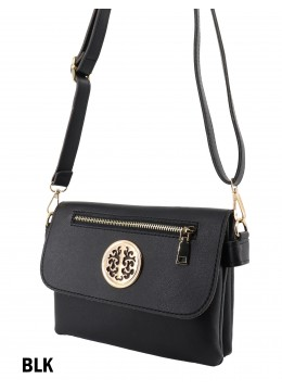 Front Zip Miller Faux Leather Crossbody /Black
