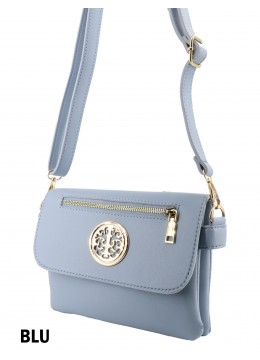 Front Zip Miller Faux Leather Crossbody /Blue
