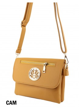 Front Zip Miller Faux Leather Crossbody /Camel