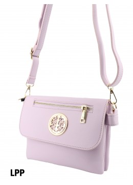 Front Zip Miller Faux Leather Crossbody /Light Purple