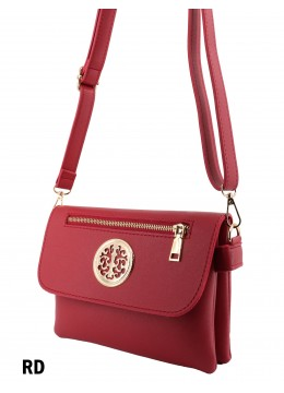 Front Zip Miller Faux Leather Crossbody /Red