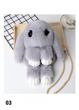 Cute Plush Bunny Bag /Grey