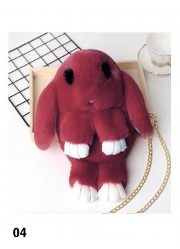 Cute Plush Bunny Bag /Burgundy