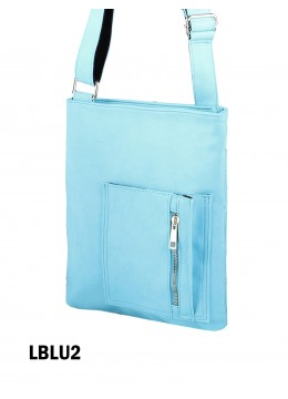 Crossbody Pocket Satchel  /Light Blue