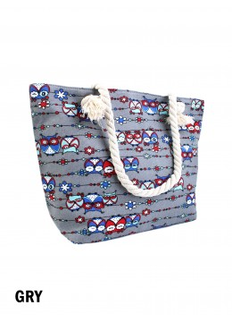 Canvas Owl Shoulder Tote