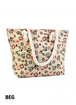 Summer Beach Stories Shoulder Tote /Beige
