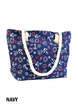 Summer Beach Stories Shoulder Tote /Navy