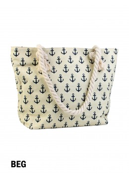 Sea Spirit Anchor Print Shoulder Tote /Beige