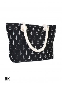 Sea Spirit Anchor Print Shoulder Tote /Black