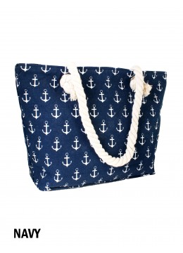 Sea Spirit Anchor Print Shoulder Tote /Navy