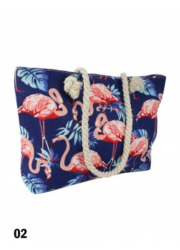 Tropical Dream Flamingo Print Shoulder Tote /Navy