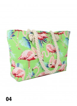 Tropical Dream Flamingo Print Shoulder Tote /Green
