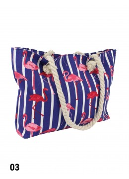 Canvas Flamingo Shoulder Tote /Navy