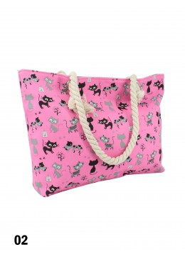 Canvas Cats Shoulder Tote /Pink