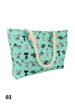 Canvas Cats Shoulder Tote /Blue