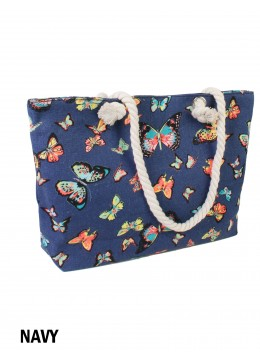 Canvas Butterfly Shoulder Tote /Navy