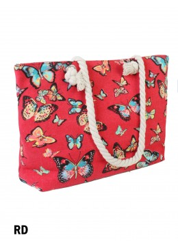 Canvas Butterfly Shoulder Tote /Red