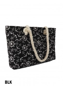 Sea Spirit Ship Anchor & Rudder Print Shoulder Tote /Black