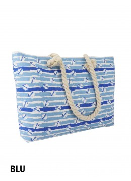 Ocean Breeze Ship Anchor Print Shoulder Tote /Blue