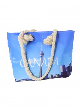 Canvas Toronto Skyline Print Shoulder Tote
