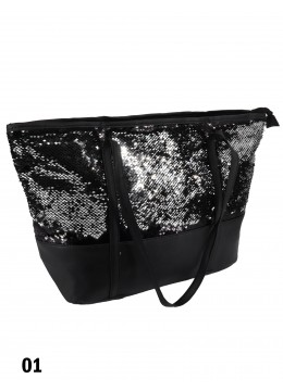 "Glittering Sequin ""Color Changing"" Shoulder Bag /Black & Silver"