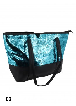 "Glittering Sequin ""Color Changing"" Shoulder Bag /Turquoise & Purple"