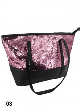 "Glittering Sequin ""Color Changing"" Shoulder Bag /Pink & Silver"