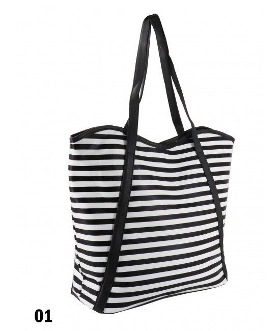 Striped Print Tote Bag With Faux Leather Accents /Black & White