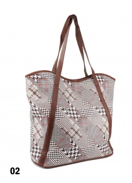Houndstooth Print Tote Bag With Faux Leather Accents /Brown