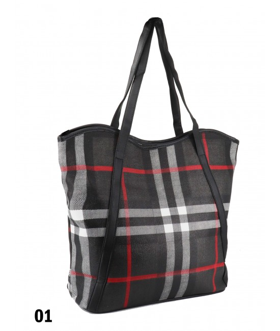 Plaid Print Tote Bag With Faux Leather Accents /Black