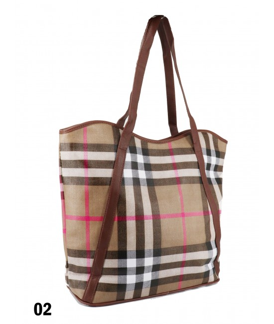 Plaid Print Tote Bag With Faux Leather Accents /Beige
