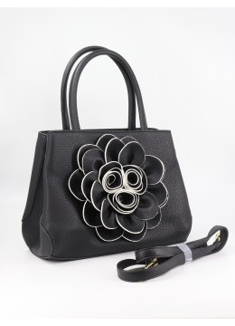 Premium Flower Lady Tote W/Zip Closure & Long Strap - Black